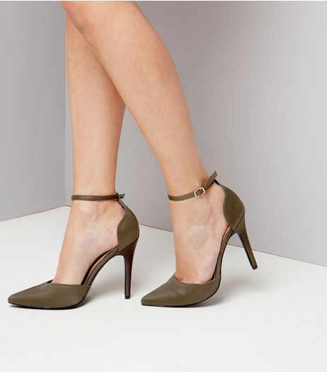 Khaki Satin Pointed Heels | New Look