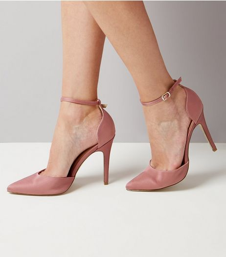 Pink Satin Pointed Heels | New Look
