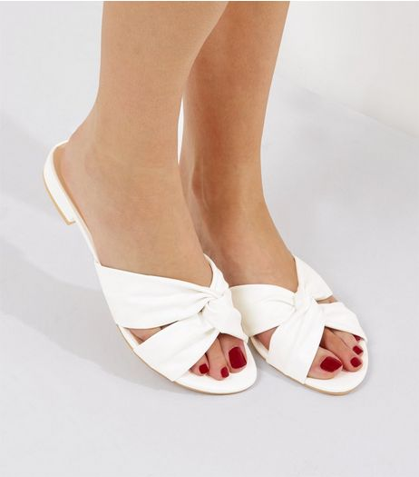 Wide Fit White Knot Front Sandals | New Look