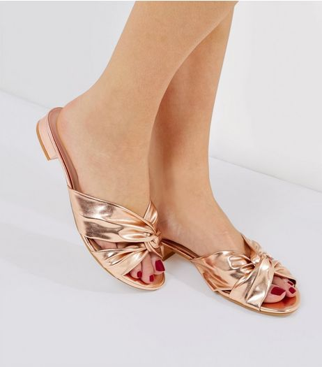 Wide Fit Rose Gold Knot Front Sandals | New Look