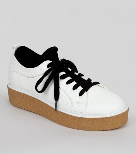 White Contrast Chunky Sole Trainers | New Look