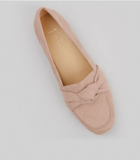 Wide Fit Nude Pink Suedette Knot Front Loafers | New Look