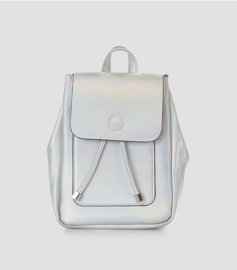 Silver Holographic Mini Backpack | New Look