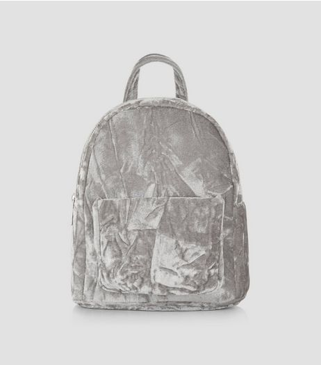 Grey Crushed Velvet Mini Backpack | New Look