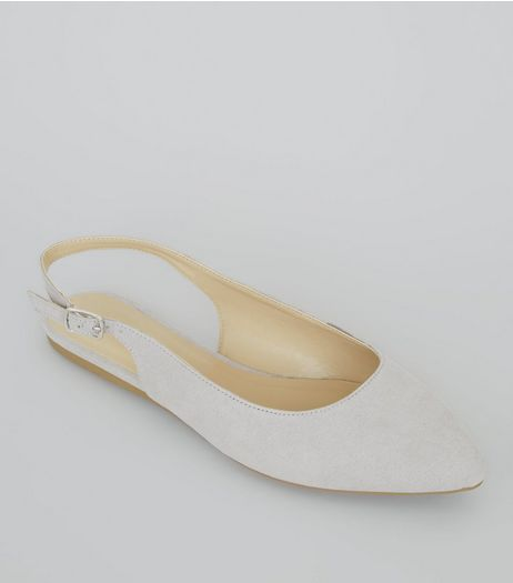 Wide Fit Grey Suedette Sling Back Ballet Pumps | New Look