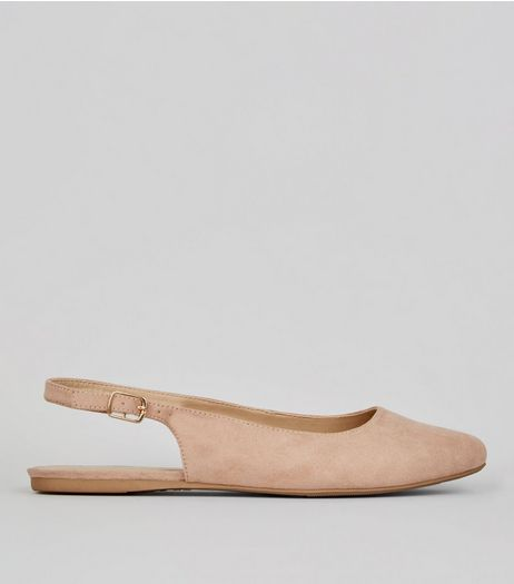Wide Fit Nude Suedette Sling Back Ballet Pumps | New Look