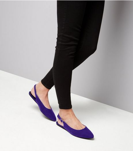 Wide Fit Blue Suedette Sling Back Ballet Pumps | New Look