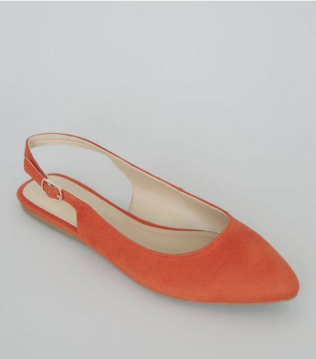 Wide Fit Orange Suedette Sling Back Ballet Pumps | New Look
