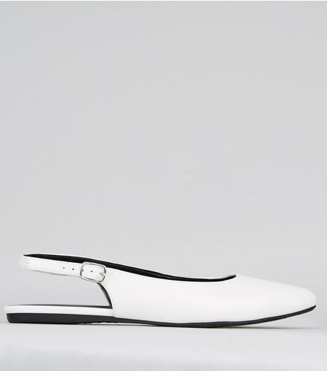 Wide Fit White Sling Back Ballet Pumps | New Look