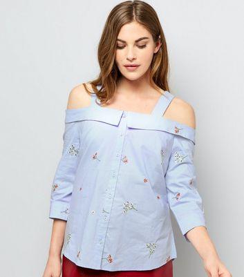 Pale Blue Floral Embroidered Cold Shoulder Shirt