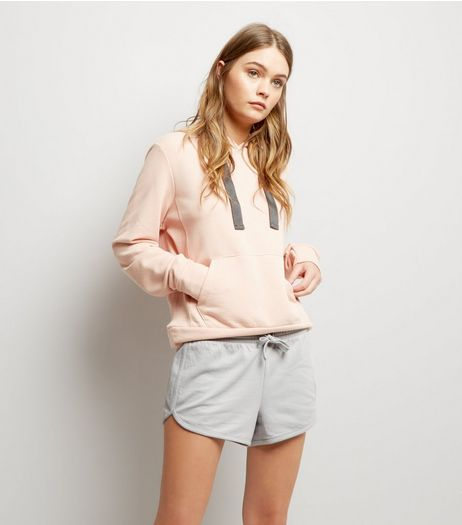 Pale Grey Tie Waist Running Shorts  | New Look