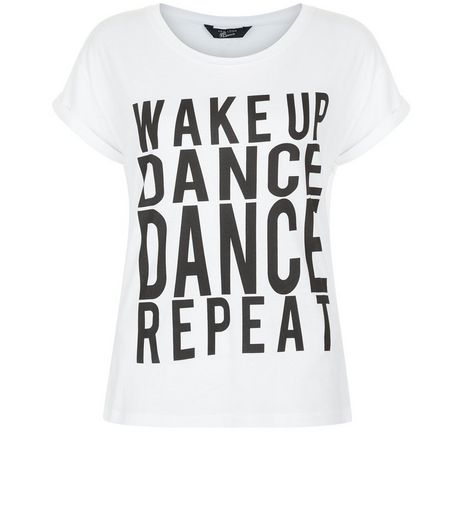 Teens White Wake Up Dance Repeat T-shirt | New Look