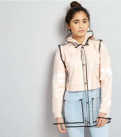 Teens White Contrast Trim Transparent Anorak  | New Look