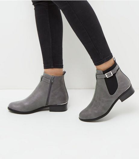 Grey Buckle Strap Metal Trim Chealsea Boots | New Look