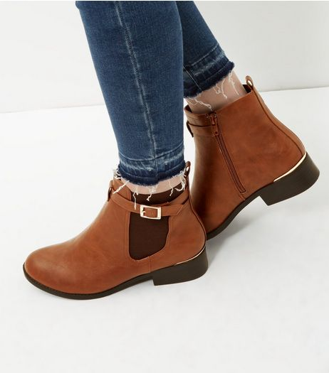 Tan Buckle Strap Metal Trim Chealsea Boots | New Look