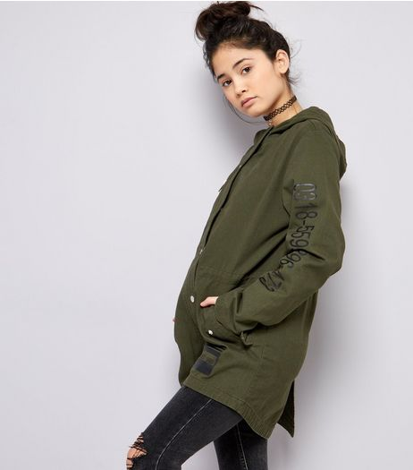 Teens Khaki Barcode Print Parka | New Look