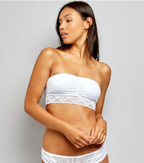 White Halenka Lace Bandeau  | New Look
