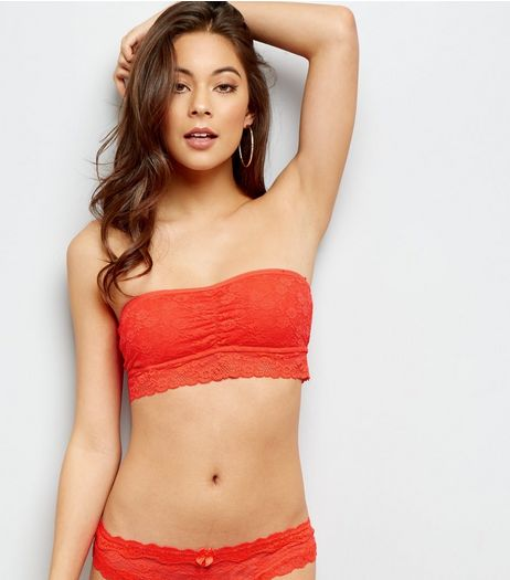 Red Halenka Lace Bandeau  | New Look