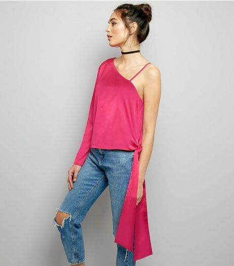 Pink Sateen One Shoulder Tie Side Top | New Look