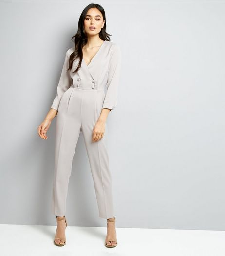 Grey Satin Tuxedo Jumpsuit | New Look