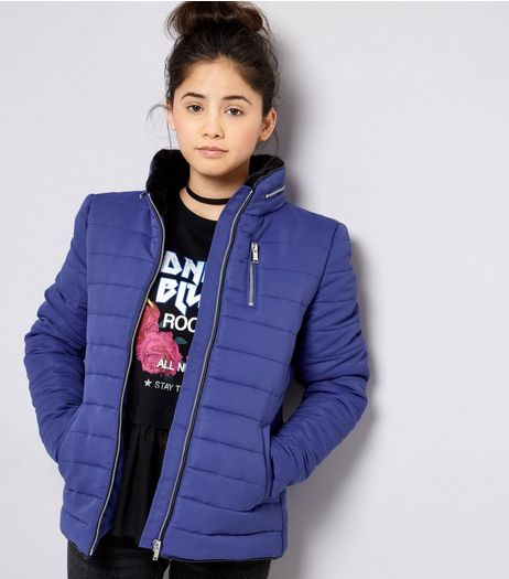 Teens Blue Fitted Puffer Jacket | New Look