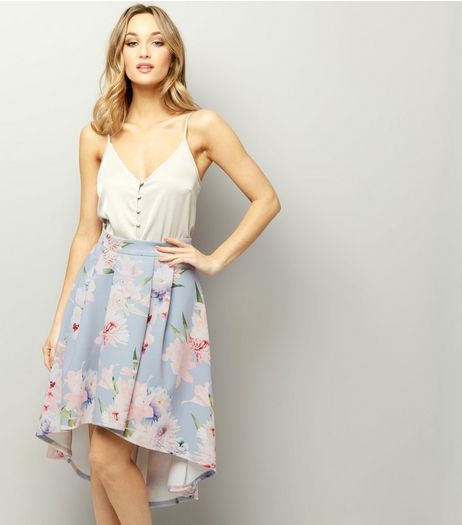 Light Grey Floral Print Dip Hem Skirt  | New Look