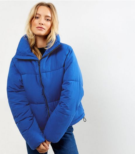 Tall Blue Cropped Puffer Jacket | New Look