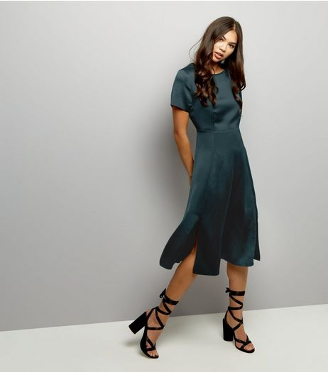 Dark Green Sateen Split Hem Midi Dress | New Look