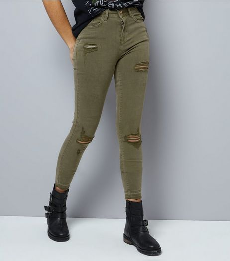 Tall Khaki Ripped Skinny Jeans  | New Look