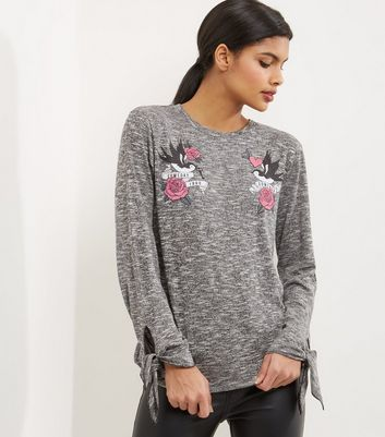 Grey Embroidered Tie Sleeve Jumper
