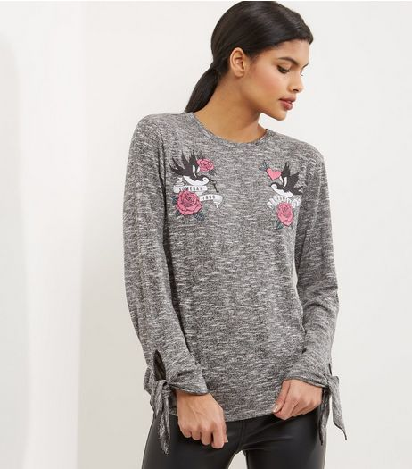 Grey Embroidered Tie Sleeve Jumper  | New Look