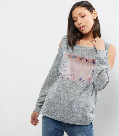 Grey Velvet Panel Cold Shoulder Top | New Look