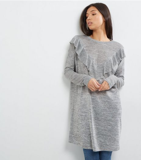 Grey Frill Trim Longline Top | New Look