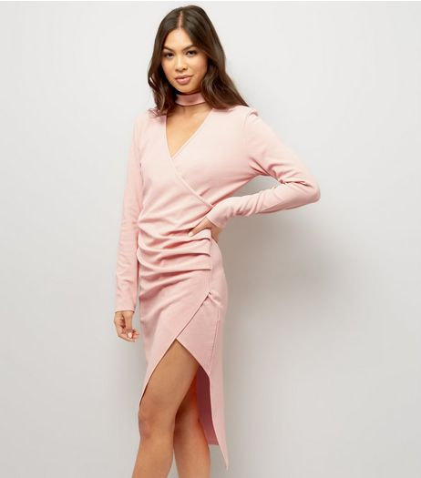 Pink Choker Neck Wrap Front Long Sleeve Dress | New Look