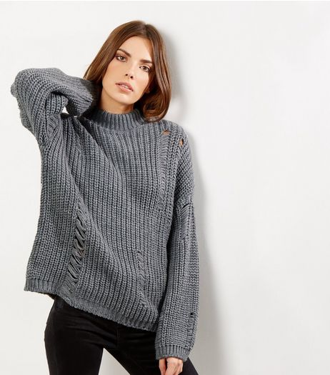 Grey Ladder Ripped Turtle Neck Jumper  | New Look