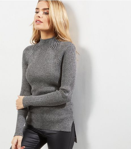 Blue Vanilla Grey Ribbed Turtle Neck Jumper  | New Look