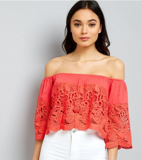 Blue Vanilla Red Scallop Lace Bardot Neck Top  | New Look