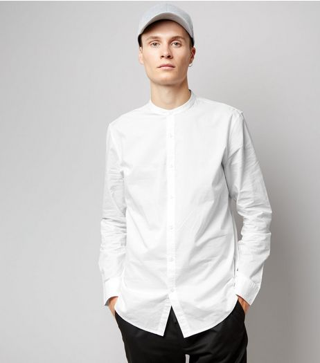 White Cotton Grandad Collar Long Sleeve Shirt | New Look