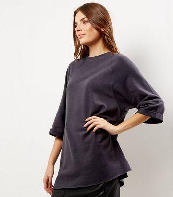 Dark Grey Seam Trim 3/4 Sleeve Oversized Top