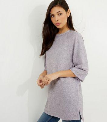 Lilac Seam Trim 3/4 Sleeve Oversized Top
