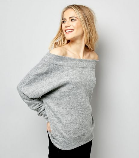 Grey Brushed Bardot Jumper | New Look