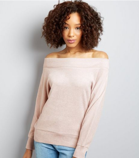 Shell Pink Brushed Bardot Jumper | New Look