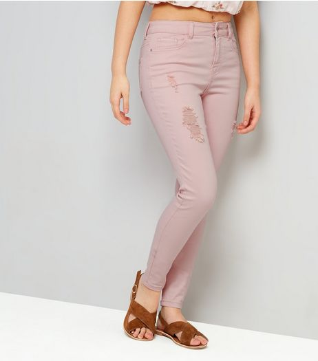 Teens Shell Pink Ripped Skinny Jeans | New Look