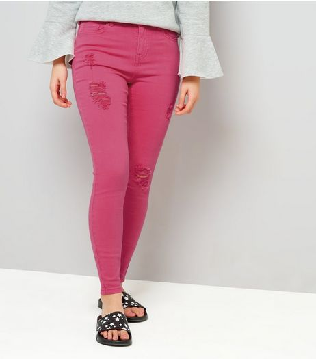 Teens Bright Pink Ripped Skinny Jeans | New Look