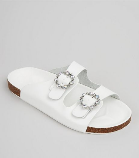 White Diamante Ring Double Strap Footbed Sandals | New Look