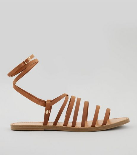 Tan Multi Strap Gladiator Sandals | New Look