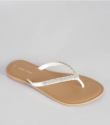 White Diamanté Trim Toe Post Sandals  | New Look