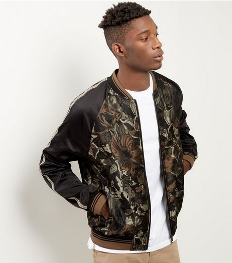 Stone Floral Raglan Sleeve Bomber Jacket  | New Look