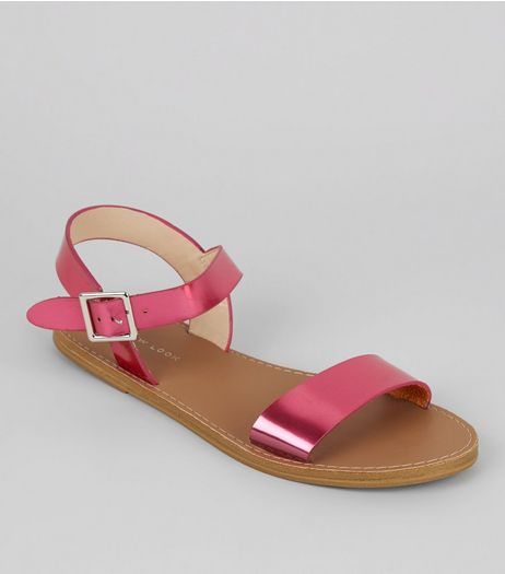 Bright Pink Metallic Sandals | New Look