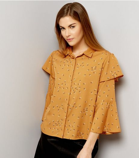 Influence Orange Frill Trim Sleeve Shirt | New Look